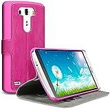 Terrapin Leder Tasche Case Hülle im Bookstyle mit Standfunktion Kartenfächer für LG G3 (Pink)