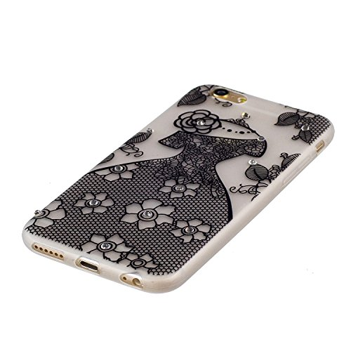 Cover iPhone 6S Plus, Custodia iPhone 6 Plus, CaseLover TPU Silicone Notte Luminosa Custodia per Apple iPhone 6S Plus / 6 Plus (5.5 pollici) Ultra Sottile Glitter Brillantini Bling Strass Caso Copertu Vestito da sposa