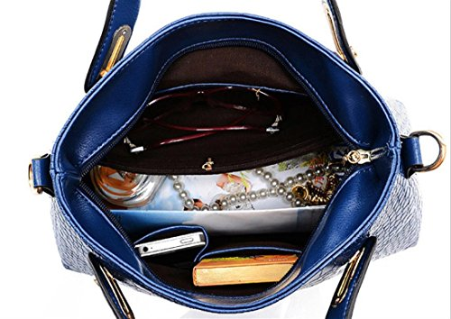 4PCS Set,Amlaiworld Donne spalla borse tote borsa in pelle Messenger Hobo Bag (Beige) Blu