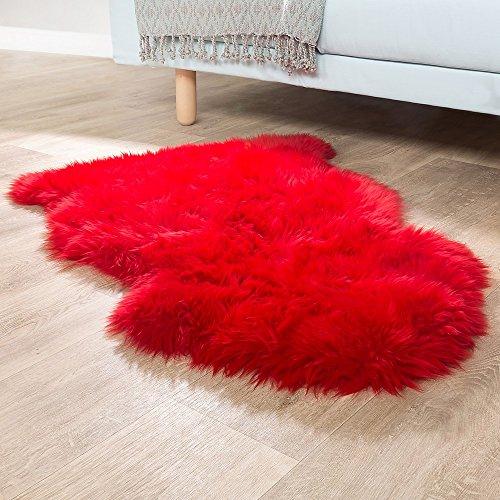 Paco Home Australisches Lammfell Naturfell Bettvorleger Echtes Schaffell In Rot, Grösse:100x68 cm