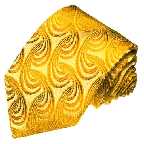 Bekleidung Asu Herren (LORENZO CANA - Krawatte aus 100% Seide - Markenqualität handgefertigt in italienischer Tradition - Gold Gelb Paisley - 84329)