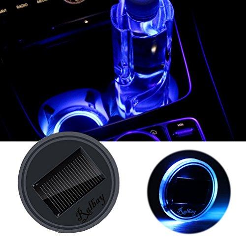 Preisvergleich Produktbild Ralbay Light Sensor Solar LED Auto Cup Halter Matte Pad Wasserdicht Flasche Getränke Untersetzer integrierte Vibration automatisch auf bei Dark Universal Blaue Farbe Licht