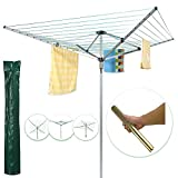 TrendMakers 60M Premium Heavy Duty 4 Arm Outdoor Rotary Clothes Airer / Dryer Washing Line w/ Metal Ground Spike & Water Proof Cover - 60M Washing Line