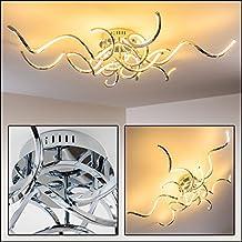 Plafonnier LED Pasadena - Lustre chromé à lumière blanc chaud - Un luminaire de salon au design et à l'envergure exceptionnels