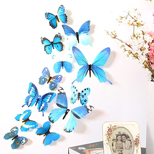 DALUCI 12pcs Decal Wall Stickers Home Decorations 3D Butterfly Rainbow PVC Wallpaper for living room (Blue)