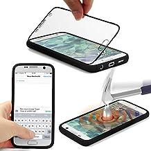 Urcover® Samsung Galaxy S7 Touch Case Handy Schutz-Hülle [ Displayschutz ] Schwarz | Silikon TPU rundum | Slim Cover | Full Body View | Wallet Schale