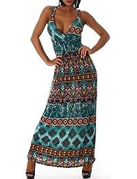 Damen Maxi Summer Dress Trägerkleid Einheitsgroesse 34 - 38
