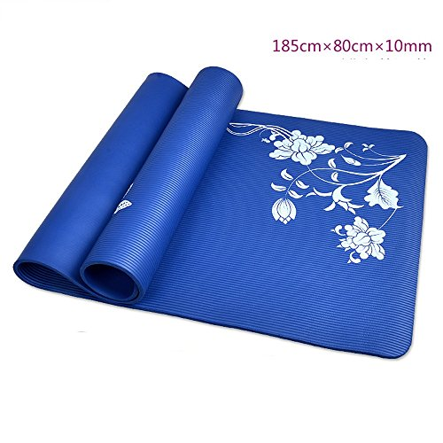 Tapis de yoga de 10mm / tapis de yoga d'épaississement / coussin de sit-up étendu tapis antidérapant / tapis de yoga d'exercice de débutant / tapis de yoga bleu (185 * 80cm)