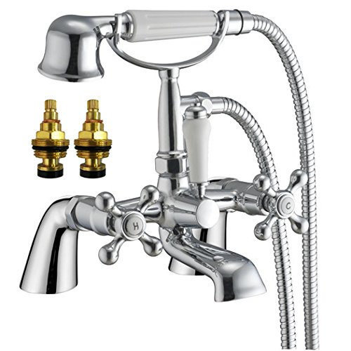 traditionnel Croix Poignées robinet de baignoire + douche (Cambridge 4)