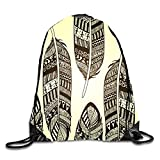 uykjuykj Colored Graffiti Sackpack Drawstring Backpack Waterproof Gymsack Daypack for Men Women Retro Feathers5 Lightweight Unique 17x14 IN