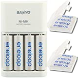 Sanyo Eneloop Schnellladegerät MQR06 - Akku Ladegerät mit LED-Anzeige inkl. 8er Pack Eneloop AA und 8er Pack AAA Akkus in Kraftmax Akkuboxen - Neueste Version