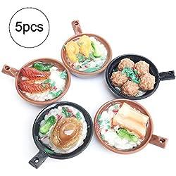JiaHan 5pcs / Set Dollhouse Miniatures Alimentos Poco Mundial de Alimentos coleccionables Mini Accesorios de Cocina para el bebé