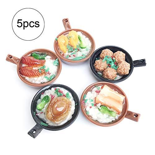 mxdmai 5er Set Miniatures Claypot Reis Mini Küchenzubehör für Puppenhaus - Küche Puppe