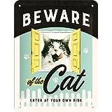 Nostalgic-Art 26208 Animal Club - Animal Club - Beware of the Cat, Blechschild 15x20 cm