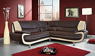Brand New Kara Olaf Faux Leather Corner Sofa Brown And Cream