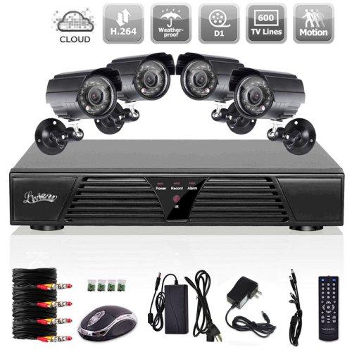Liview® 600TVL Videoüberwachung Set Überwachungssystem 8CH 960H/D1 DVR mit 4 Höhe Auflösung Nachtsicht Wetterfeste IR-Cut eingebaut CCTV Überwachungskameras HDMI Anschluss Ohne Festplatte