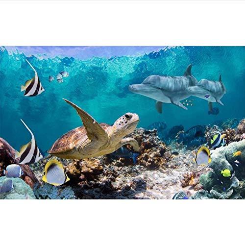 Qwerlp Benutzerdefinierte 3D Fototapete Wohnzimmer Wandbild Unterwasserwelt Schildkröte Bild Sofa Tv Hintergrund Vliestapete Für Wand 3D-150X120Cm