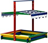 dobar 94356FSC - Sandkasten Holz mit Deckel, mit Dach absenkbar Spezial-Arretierung, Sandkiste groß XL viereckig mit Abdeckung, 120 x 120 x 120 cm, FSC-Holz, bunt