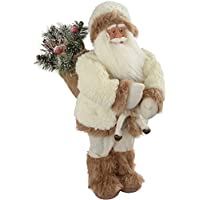 WeRChristmas Standing Santa with Gift Sack in a Fur Outfit Decoration - 48 cm, White/Brown