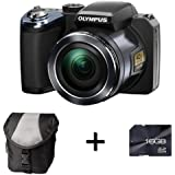 Olympus SP-820UZ Digital Camera - Black + Case and 16GB Memory card (14MP, 40x Wide Optical Zoom) 3 inch LCD Screen
