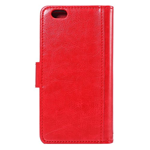 Phone case & Hülle Für iPhone 6 Plus / 6s Plus, zwei in einem separaten verrückten Pferd Textur Horizontale Flip Leder Brieftasche Fall mit 9 Card Slots & Lanyard ( Color : Coffee ) Red