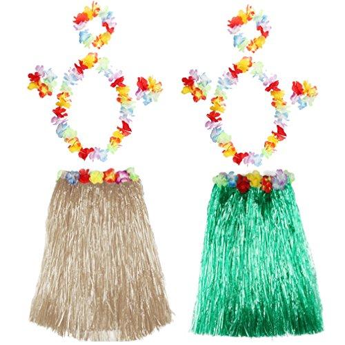 2 Pcs Hawaii-Rock Mädchen Grass Rock Kinder Tanzen Party Skirts Summer Strand Rock Blumen Armbänder Halskette Stirnband,40 ()