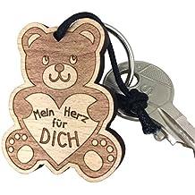 """Niedlicher Schlüsselanhänger Teddy """"Mein Herz für Dich"""" aus Holz Geschenk sehr gute Qualität vom ORIGINAL endlosschenken"""