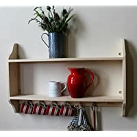 Two tier shelf with a rail of Shakers pegs, solid pine, natural ready to paint, 3 sizes available