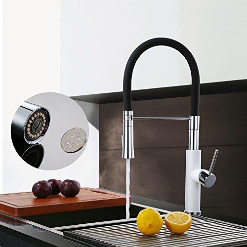 Homelody – Küchenarmatur mit hohem Auslauf, 360° drehbar, herausziehbar, Weiß-Chrom - 6