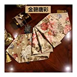 JUNYZZQ Chemin De Table Chinese Dining Table European Floral American Country TV Cabinet Coffee Cloth Tablecloth Bed Flag 30X210Cm
