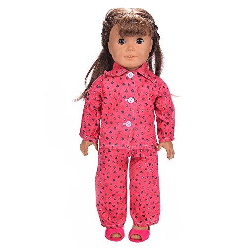 Traje de Moda Conjunto de Pijamas de Invierno Camisa Manga Larga Estampada+Los Pantalones para 18 Pulgadas Muñeca Americana Chica Gusspower