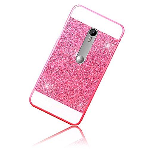 Sunroyal Motorola Moto G 3. Generation 12.7cm 5 Zoll Handy Hülle Schutz Bling Hart Case Harte Glitzer Diamant Luxus Gel Crystal Kristall Zurück Hard Back Cover Rückseite, Rosa Pink