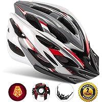 Shinmax Casco Especializado de la Bici con la luz de la Seguridad, Casco de Ciclo Ajustable del Deporte Cascos de la Bici de la Bicicleta para el Camino y Mountain Biking, Motocicleta para los Hombres y las Mujeres Adultos (Grisrojoblanco-Gran Luz)