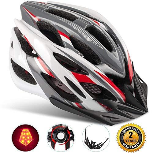 Shinmax Spécialisés Eclairage de Sécurité Casque de Vélo, Réglable Vélo Sport Casque Vélo Casques de Vélo pour la Route et VTT, Moto Hommes Adultes et les Femmes, les Hommes - Racing, la Protection de la Sécurité (Grisrougeblanc-Grande Lumière)