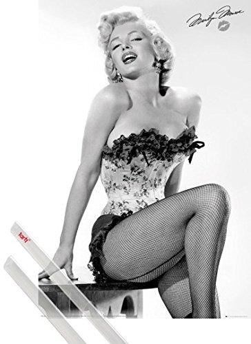Poster + Sospensione : Marilyn Monroe Poster Stampa (91x61 cm) Table E Coppia Di Barre Porta Poster Trasparente 1art1®
