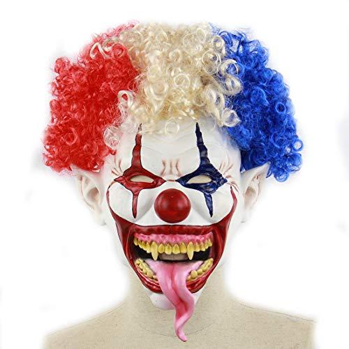 DUBAOBAO Máscara De Halloween, Cabeza Frita Gran Boca Larga Lengua Payaso Máscara De Halloween Látex Horror Peluca Fantasma, Halloween Máscara Diablo Látex