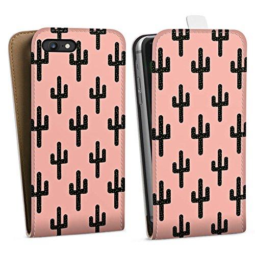 Apple iPhone X Silikon Hülle Case Schutzhülle Kaktus Muster Schwarz Pink Downflip Tasche weiß