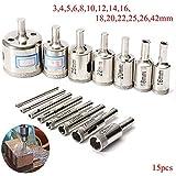 Juego de accesorios para herramientas precisas Broca de diamante 15pcs 3-42mm agujero de diamante