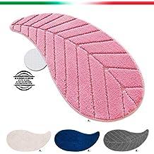 TAPPETO BAGNO SCENDILETTO FOGLIA 50x110cm shaggy retro antiscivolo moderno morbido mod.FIJI ROSA (R)