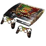 Blason Congo, Autocollant Skin Peau Vinyl avec Motifs Colorés et Effet de Cuir pour PlayStation 3 Slim