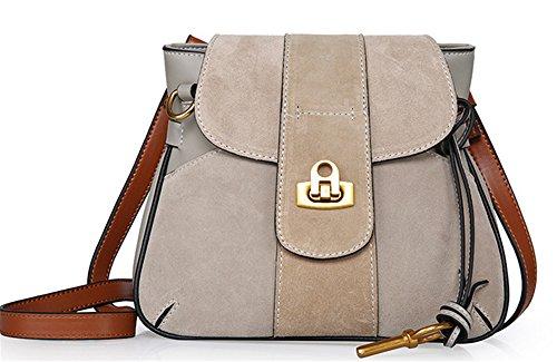 Xinmaoyuan Borse donna borsette in cuoio semplice spalla borsa Messenger Scrub morsetto sella borsetta Borsa retrò signora Pack Grigio