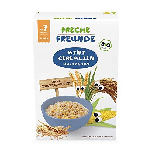 Freche Freunde Bio Mini Cerealien Multikorn, Minicerealien für Babys ab 7. Monaten, gepufftes Bio-Getreide, vegan,  90 g