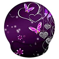 Meffort Inc Mouse Pad with Wrist Rest Support & Non-Slip Base, Durable Ergonomic Gaming Mousepad - Purple Hearts Butterflies