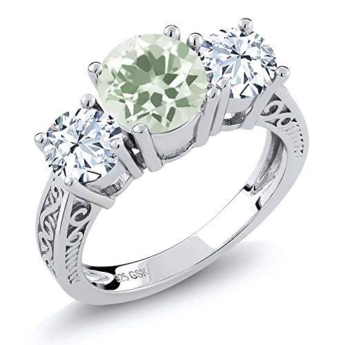 Gem Stone King - Sterling-Silber 925 Sterling-Silber Rundschliff weiß grün Zirkonia Améthyste - Alle Herren Cz Ringe