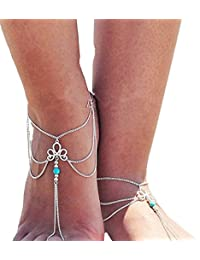 TBOP ANKLET THE BEST OF PLANET SIMPLE & STYLISH 2PCS Jewellery Fashion Simple Retro Hollow Pattern Turquoise Beaded...
