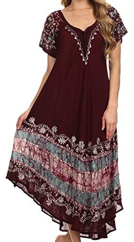 Sakkas 14403New -Sara Batik Kaftan-Behälter-Kleid/Vertuschung - Schokolade/Minze - One Size Regular - Minze-kleid Frauen Für