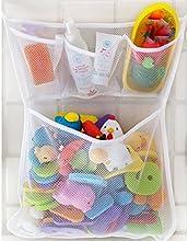Welecom-Bañera de baño cuarto de baño juguete Red de malla bolsa de almacenamiento organizador soporte con ventosa Red, ordenado, juguete Red de malla bolsa de almacenamiento