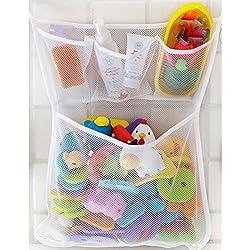 Welecom–Red de malla, bolsa de almacenamiento, organizador de juguetes, para cuarto de baño y bañera, soporte con ventosa