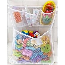 Red de malla, bolsa de almacenamiento, organizador de juguetes, para cuarto de baño y bañera, soporte con ventosa