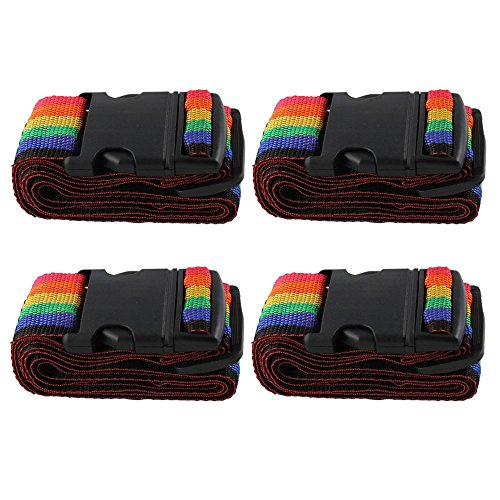 COM-FOUR® 4x Koffergurt in Regenbogenfarben gestreift, ca.5 x 180 cm (04 Stück) (Stück Gepäck-set 4)